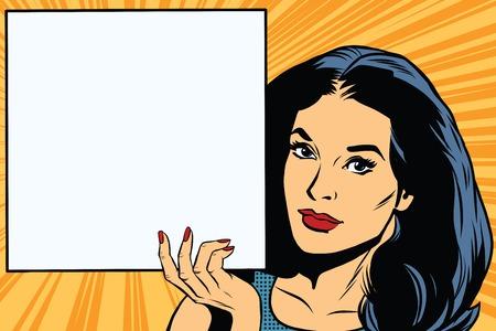 Illustration pour Woman holding blank poster pop art retro vector. Square poster. Retro vector advertising and announcement - image libre de droit