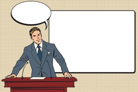 Illustration pour business presentation, a scientific lecture pop art retro vector. Education and science. Business coach training - image libre de droit