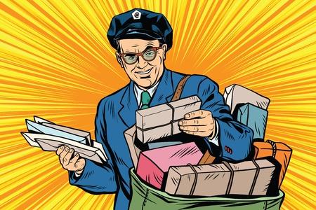Illustration pour Cheerful oldster postman pop art retro vector. Friendly postman in blue uniform with bag and letters - image libre de droit