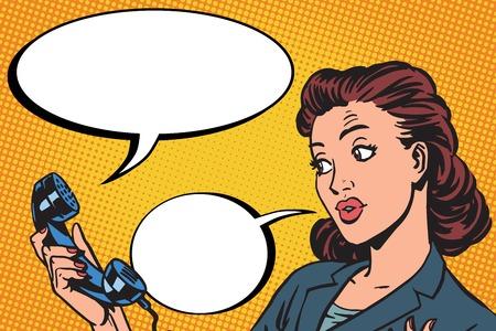 Ilustración de Female phone conversation communication pop art retro vector - Imagen libre de derechos