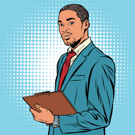 Illustration pour Black businessman with documents pop art retro vector. - image libre de droit