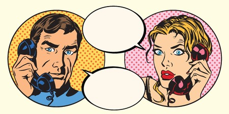 Illustration pour Vintage couple man and woman talking on the phone pop art retro vector - image libre de droit
