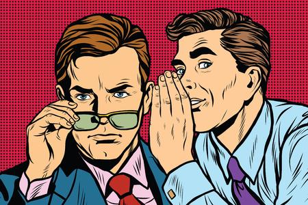 Illustration pour Business men gossiping pop art retro vector realistic hand drawing illustration - image libre de droit