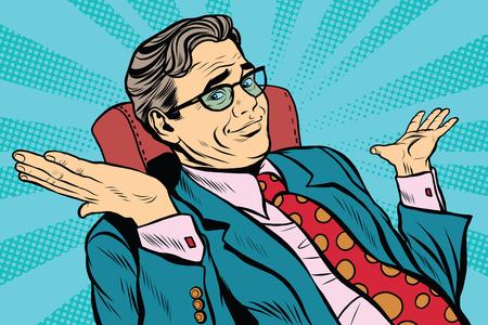 Illustration pour oops sorry business man. Pop art retro vector, realistic hand drawn illustration. businessman throws up his hands - image libre de droit