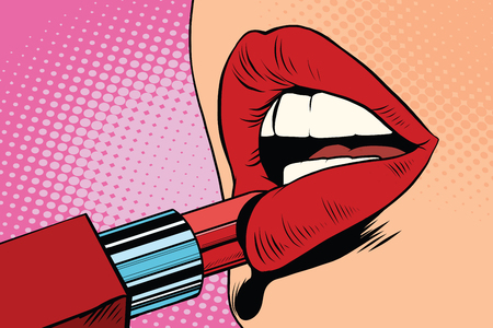 Foto de Girl paints her lips with red lipstick, makeup pop art retro vector. The beauty of the face - Imagen libre de derechos