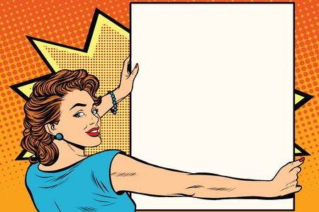 Illustration for Pop art woman holding a poster retro vector illustration. copy space for the announcement and advertising - Royalty Free Image