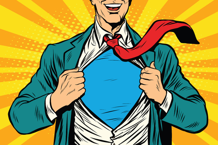 Illustration pour Super hero male businessman pop art retro vector illustration - image libre de droit
