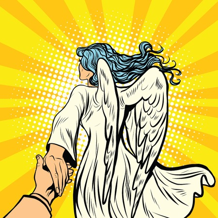 Illustration for follow me, woman angel with wings. pop art retro comic book vector illustration. Religion and love - Royalty Free Image