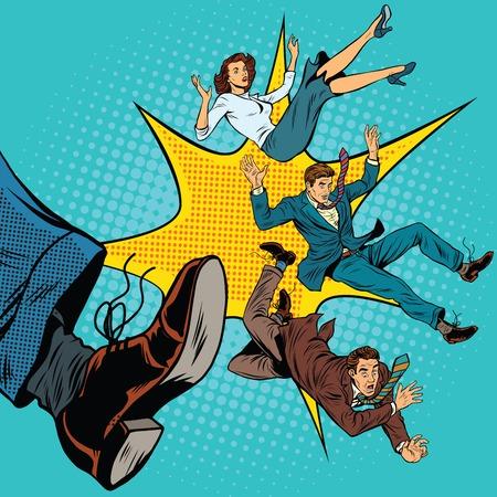 Illustration pour Kick leg, dismissal, pop art retro comic book vector illustration. Politics and elections - image libre de droit