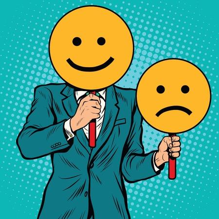 Illustrazione per Smiley facial expressions happy and sad, pop art retro vector illustration - Immagini Royalty Free