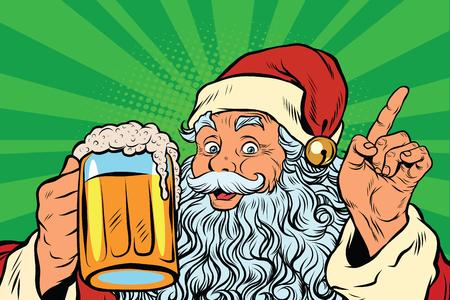 Ilustración de Santa Claus with beer, pop art retro vector illustration. Holidays New year and Christmas. Pub or restaurant - Imagen libre de derechos