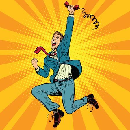 Illustration pour Joyful retro man with a handset, pop art vector illustration. gadgets and phones - image libre de droit