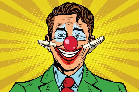 Illustrazione per Clown face smile with clothespins, pop art retro vector illustration - Immagini Royalty Free