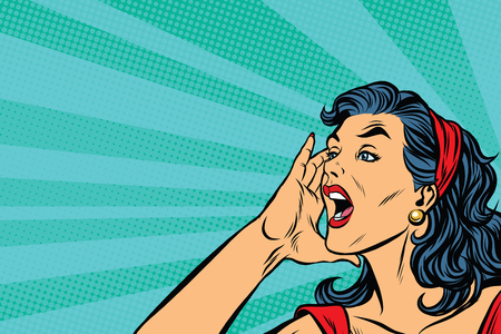 Illustration for Pop art retro girl screams, vector illustration. Herald news - Royalty Free Image