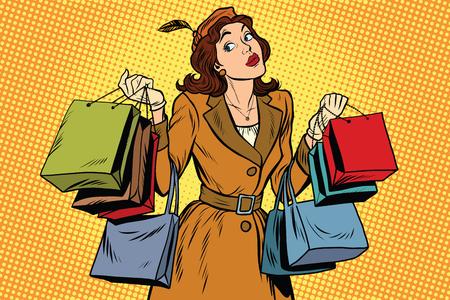 Ilustración de Beautiful retro woman on sale, pop art retro vector illustration. Seasonal and holiday shopping - Imagen libre de derechos
