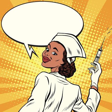 Illustration pour African American nurse with a syringe for vaccination, pop art retro comic book vector illustration - image libre de droit