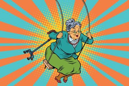 Foto de Old woman swinging on a baby swing. Pop art retro vector illustration. Granny with a crutch - Imagen libre de derechos