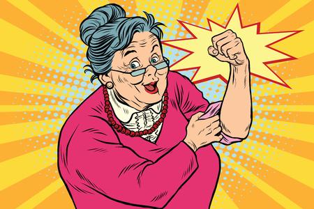 Illustration pour Granny old lady We can do it - image libre de droit