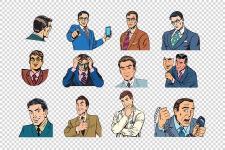 Illustration pour Retro businessmen pop art collection - image libre de droit