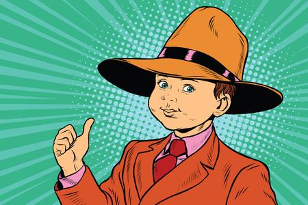 thumb up boy in a big hat