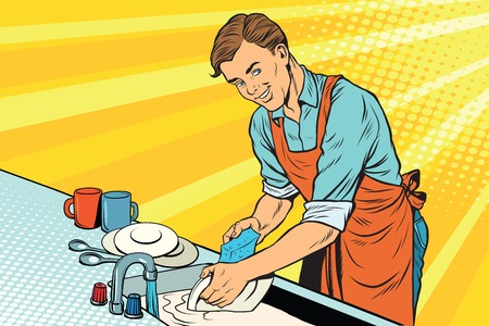 Illustration pour Vintage worker washes dishes - image libre de droit