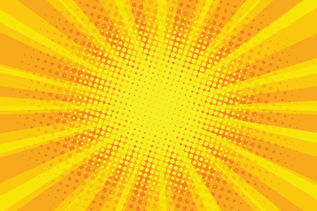 Illustration for yellow orange sun pop art retro rays background - Royalty Free Image