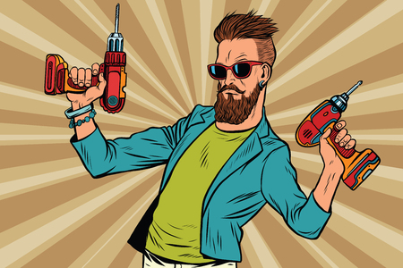 Illustration for hipster repairman with a drill. Pop art retro vector illustration. Home repairs. Mens work - Royalty Free Image