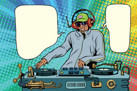 Illustration pour DJ boy party mix music. Pop art retro vector illustration. African American people - image libre de droit