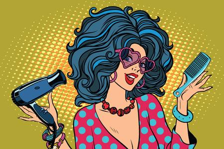 Ilustración de Beautiful young woman with Barber tools. Pop art retro vector illustration. profession stylist - Imagen libre de derechos