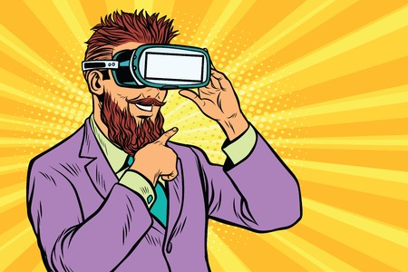 Illustration pour Smiling bearded hipsters in VR glasses - image libre de droit