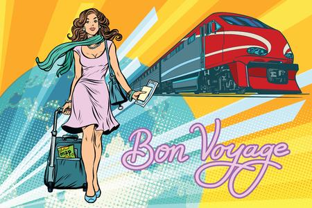 Ilustración de Railroad passenger train, Bon voyage. Beautiful young woman with Luggage. Pop art retro vector illustration - Imagen libre de derechos