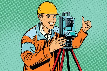 Illustration pour Builder surveyor with a theodolite optical instrument for measur - image libre de droit