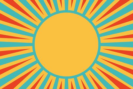 Illustration pour Sun red yellow blue background. Pop art retro vector illustration - image libre de droit