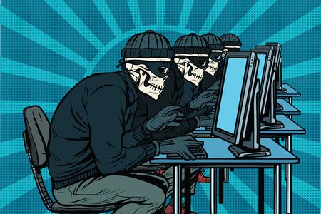 Illustration for The hacker community, skeletons hacked computers. Pop art retro vector illustration - Royalty Free Image