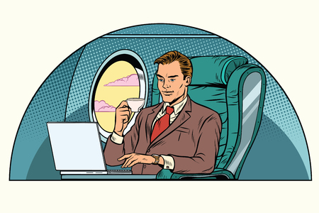 Illustration pour Businessman working in the business class cabin. Aviation and travel. Pop art retro illustration - image libre de droit