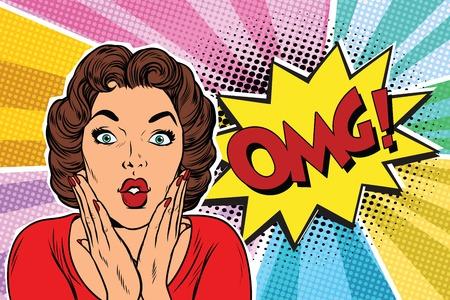 Illustration pour OMG pop art brunette woman. Pop art retro vector illustration - image libre de droit
