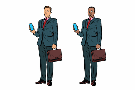 Illustration for Two businessmen African American and Caucasian. Man with phone and briefcase in a business suit. Pop art retro vector illustration - Royalty Free Image