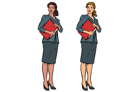 Illustration pour Two female accountant African American and Caucasian. Business woman. Pop art retro vector illustration - image libre de droit