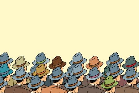 Illustrazione per The audience background, men standing back. Pop art retro vector illustration - Immagini Royalty Free