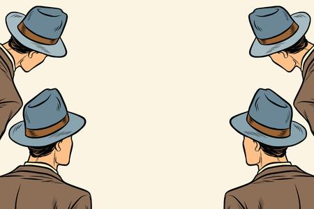 Illustrazione per four men spectators look on a neutral copy space background. Pop art retro vector illustration - Immagini Royalty Free