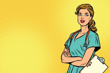 Illustration pour Beautiful Caucasian nurse with stethoscope. Medicine and health care. Pop art retro vector illustration - image libre de droit
