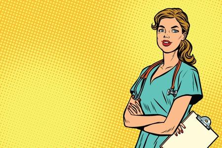 Ilustración de Beautiful Caucasian nurse with stethoscope. Medicine and health care. Pop art retro vector illustration - Imagen libre de derechos