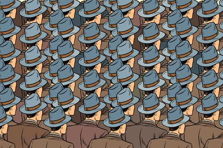 Illustration pour background crowd of the same men, stand back. Pop art retro vector illustration - image libre de droit