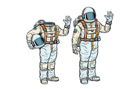Illustration pour Astronaut in spacesuit and mockup without a head. Pop art retro comic book vector illustration - image libre de droit