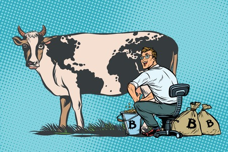 Illustration pour Businessman mines bitcoins milking a cow, world business. Pop art retro comic book vector illustration - image libre de droit