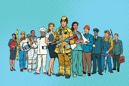 Illustration pour Fireman doctor Secretary astronaut Builder chef pilot miner and - image libre de droit