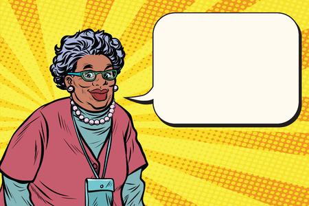 Illustration pour Portrait of a smiling beautiful African old woman, Granny - image libre de droit