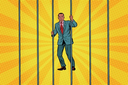 Photo for African Businessman in jail behind bars. Pop art retro vector illustration - Royalty Free Image