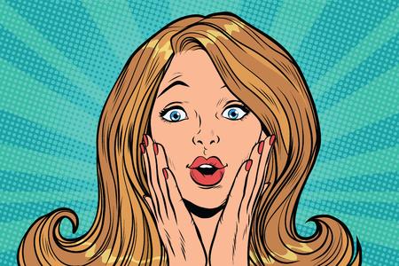 Illustrazione per Beautiful female emotional reaction surprise. Pop art retro comic book vector illustration - Immagini Royalty Free