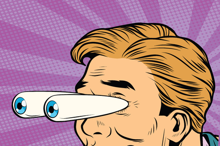 Illustration pour cartoon eyes popping out, shock surprise look. Pop art retro comic book vector illustration - image libre de droit